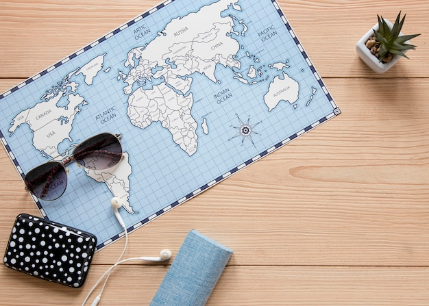 Top view map on wooden background