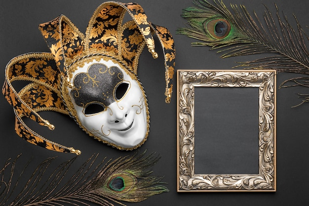 Vista dall'alto della maschera per il carnevale e cornice con piume