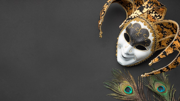 Top view of mask for carnival with feathers and copy space