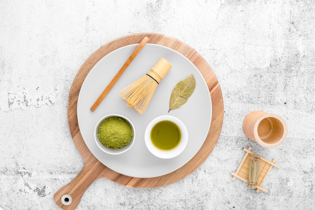 Top view matcha concept on the table
