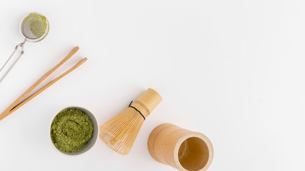 Top view matcha concept with copy space
