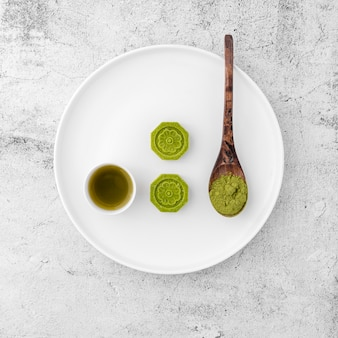 Top view  matcha powder on a plate