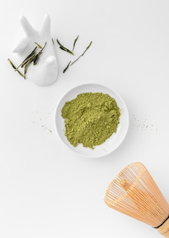 Top view matcha powder on the table