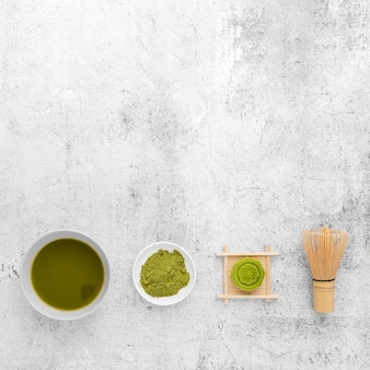 Top view matcha tea concept with copy space