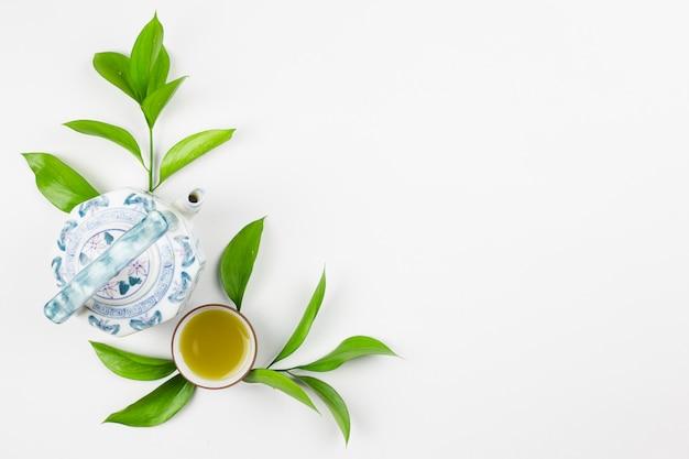 Top view of matcha tea preparation