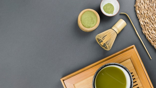 Top view of matcha tea preparation