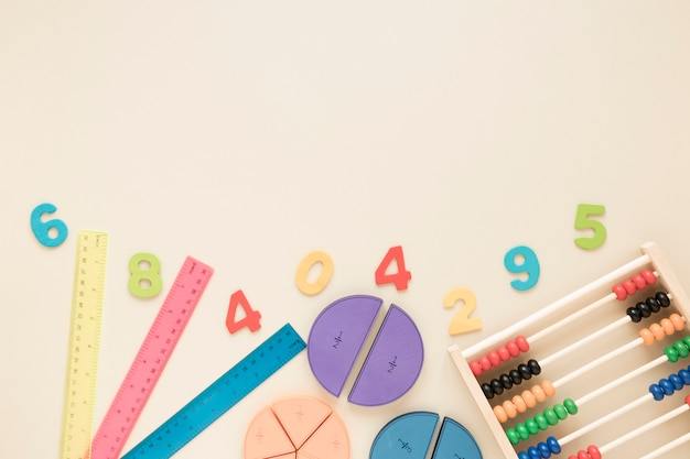 Top view math and science school supplies