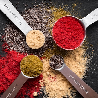 Top view measuring spoons with spices