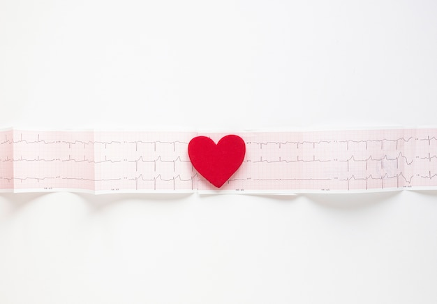 Вид сверху медицинская кардиограмма с сердцем