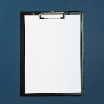 Top view medical clipboard on the table