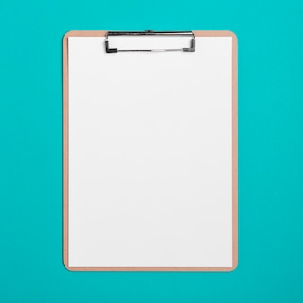 Top view medical clipboard with paper