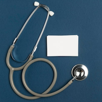 Top view medical stethoscope with envelope