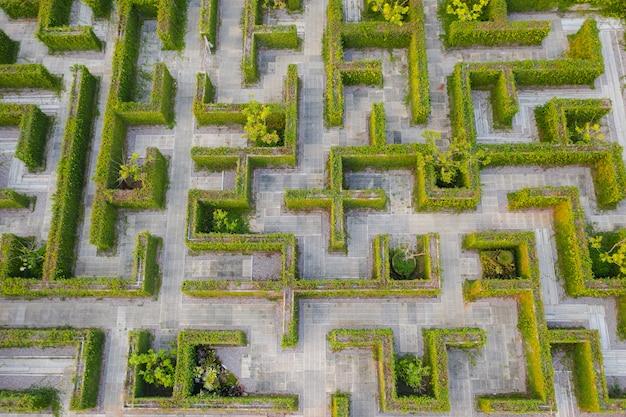 Top view medium altitude above of maze green park garden