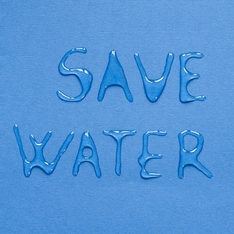 Top view of message made from water