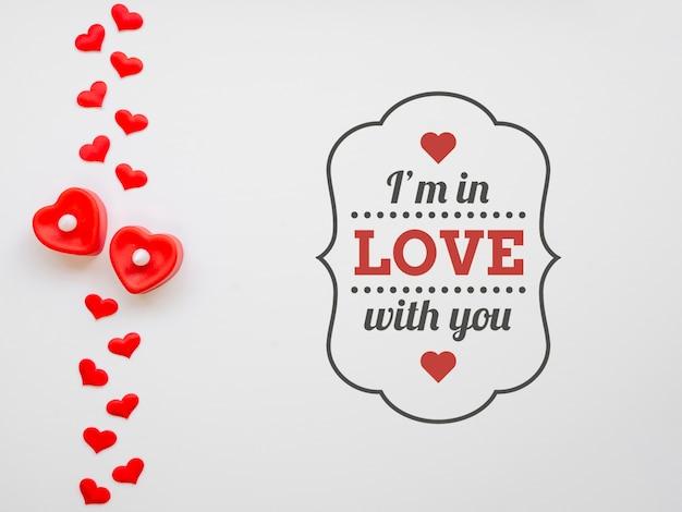 Messaggio vista dall'alto per san valentino