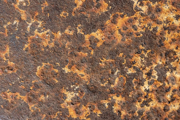 Top view of metal surface with rust