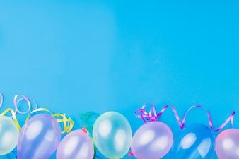 Top view metallic transparent balloons