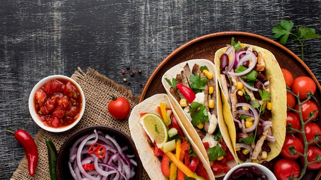 Top view mexican food with meat and vegetables