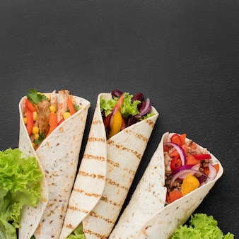 Top view mexican tortilla wraps with copy space