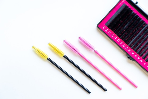 Top view micro eyelash brushes mascara wan and fake eyelashes, eyelashes extension tools