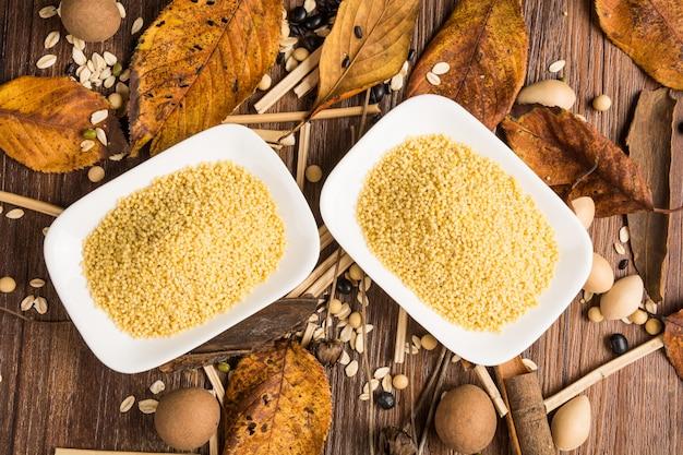 Top view of millet grains