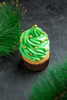 Vista dall'alto mini cupcake albero di natale e rami di albero di natale su sfondo scuro