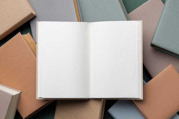Top view minimal composition with books