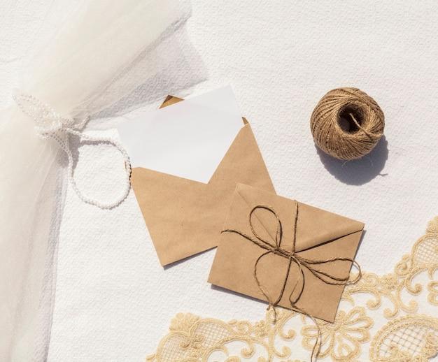 Top view minimalist wedding decoration