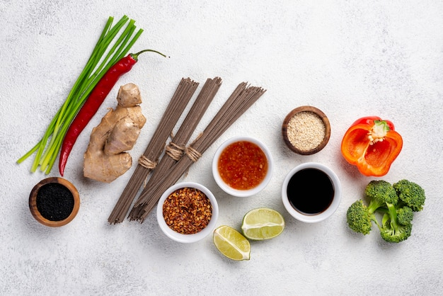 Top view mix of asian food ingredients with copy space