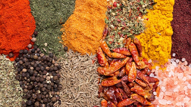 Top view mix on different spices