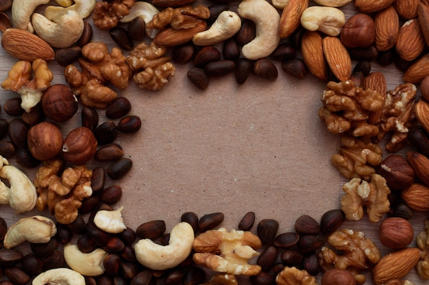Top view mix of nuts frame
