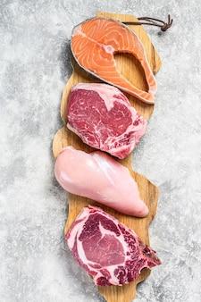 生肉のアレンジメントのトップビューミックス