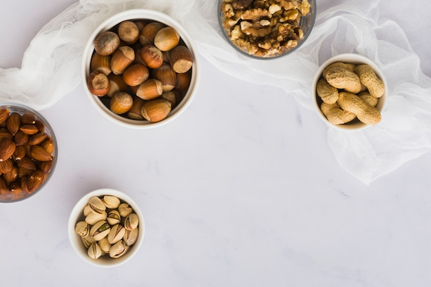 Top view mixture of healthy nuts