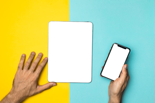 Top view mockup devices with colourful background