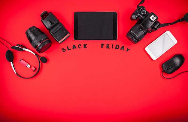 Top view of modern devices ready for sale on black friday