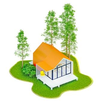 녹색 잔디와 전나무 나무가있는 섬에 주황색 지붕이있는 스칸디나비아 스타일 헛간에서 상위 뷰 현대 작은 흰색 프레임 작은 집. 격리 된 흰색에 3d 그림