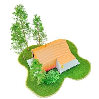 緑の芝生とモミの木のある島にオレンジ色の屋根のあるスカンジナビアスタイルの納屋にあるモダンな小さな白いフレームの小さな家の上面図