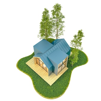 Top view of a modern small wooden tiny house in the scandinavian style born with a metal roof on an island with a green lawn and fir trees.