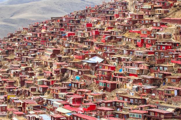 Top view monastery at larung gar (buddhist academy), sichuan, china