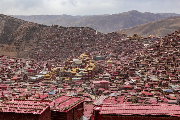 Top view monastery at larung gar