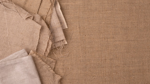 Top view of monochromatic textiles