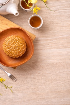 Top view of moon cake for mid-autumn festival holiday