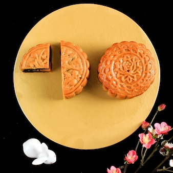 Top view moon cake (mooncake) chinese dessert snack during lunar new year mid autumn festival