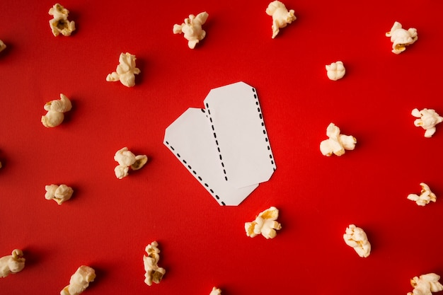 Top view movie composition on red background