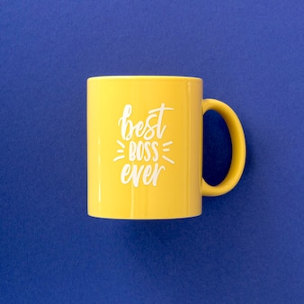 Top view mug with best boss message