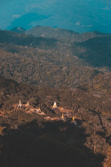 Top view mulayit taung golden light of the morning sun and the mist covered on mount mulayit, myanmar
