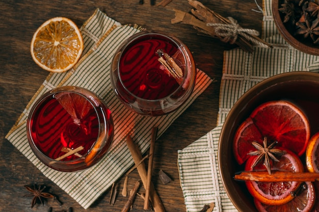 Top view mulled wine with star anise