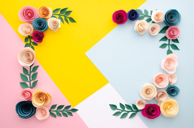 Top view multicolored background with flowers frame