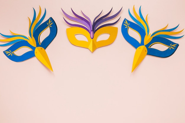 Top view of multicolored masks for carnival