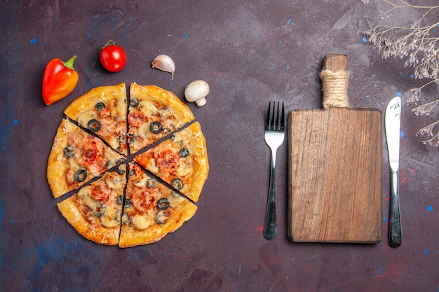 Top view mushroom pizza sliced with cheese and olives on dark desk food italian pizza bake dough meal
